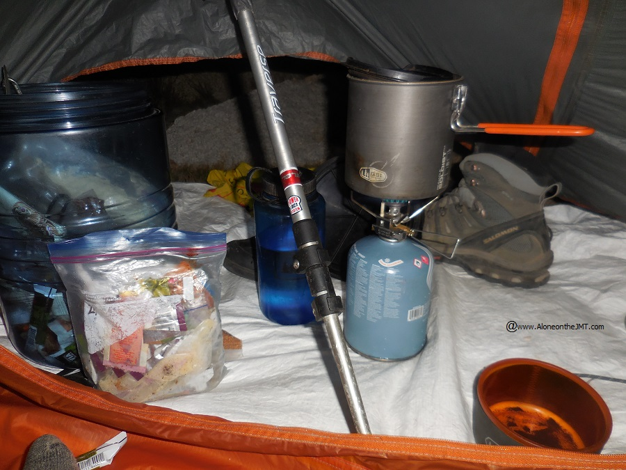 Coffee inside my tent on a chilly morning