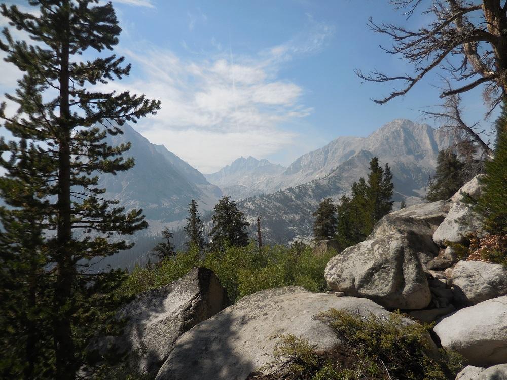 Hiking out of Vidette Meadow looking toward Kearsarge Pinnacles