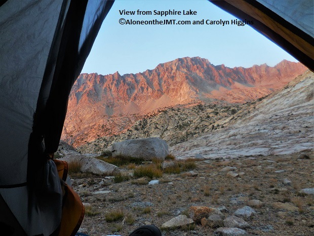 Morning view of Evolution Basin from my tent at Sapphire Lake