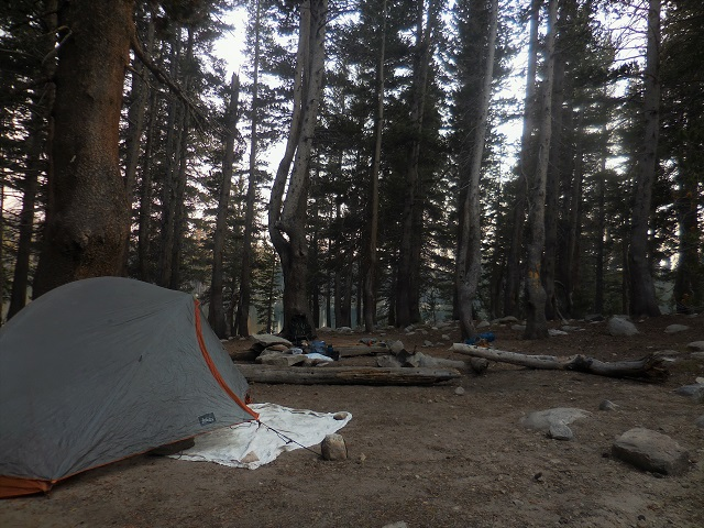 camp at Sallie Keys lake after MTR resupply