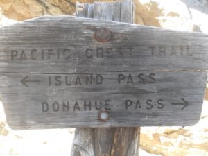 Carolyn Higgins Alone on the JMT Donahue Pass and Island Pass PCT Sign